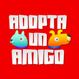 Adopta un amigo - Adopt a friend spanish text. Vector pet concept, emblem with dog and cat characters Royalty Free Stock Image