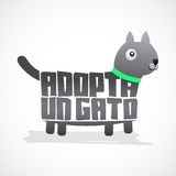 Adopta un Gato - Adopt a Cat spanish text Stock Photography