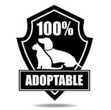100% adoptable badge Stock Photography