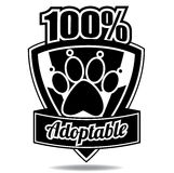 100% adoptable pet badge icon shield Royalty Free Stock Image