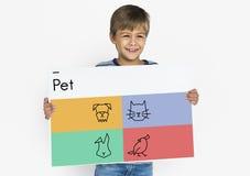 Adopte el icono de los mejores amigos de los animales Fotografía de archivo libre de regalías