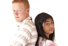 Adopted caucasian boy and tongan girl portrait Royalty Free Stock Photos