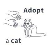 Adoptera en kattlinje symbol Arkivfoto