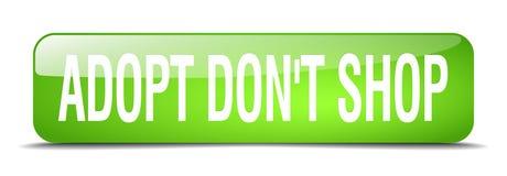 adoptez mettent le bouton de Web d'isolement par 3d de place de vert de boutique du ` t Illustration Stock