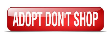 adoptez mettent le bouton réaliste rouge de Web de la place 3d de boutique du ` t Illustration Libre de Droits