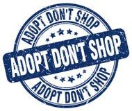 adoptez mettent le tampon en caoutchouc grunge bleu de vintage de boutique du ` t Photo libre de droits