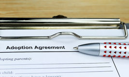 Adoption Agreement. An adoption agreement waiting for you to be signed Royalty Free Stock Photo