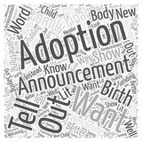 Adoption Announcements word cloud concept background. Text Royalty Free Illustration