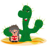 Adoption concept - original funny illustration. Original funny illustration of a cactus holding a foster hedgehog baby - adoption concept Stock Images