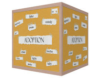 Adoption Corkboard Word 3D cube Concept Royalty Free Stock Photography