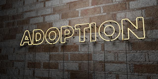 ADOPTION - Glowing Neon Sign on stonework wall - 3D rendered royalty free stock illustration. Can be used for online banner ads and direct mailers royalty free illustration