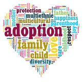 Adoption heart. A heart with most common words regarding international adoption stock illustration