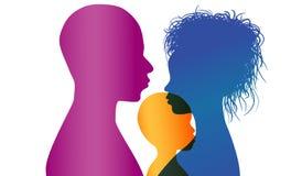 adoption Les jeunes parents africains ou afro-américains adoptent un enfant d'Africain ou d'Afro-américain Silhouette de profil d illustration de vecteur