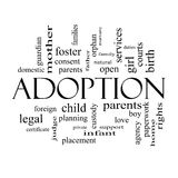 Adoption Word Cloud Concept in black and white Royalty Free Stock Photo