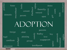 Adoption Word Cloud Concept on a Blackboard Stock Photo