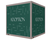 Adoption Word Cloud Concept 3D cube Blackboard. Adoption Word Cloud Concept on a 3D cube Blackboard with great terms such as baby, parent, rights, love and more Royalty Free Stock Photo