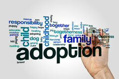 Adoption word cloud concept on grey background Royalty Free Stock Photography