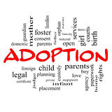 Adoption Word Cloud Concept in red caps Stock Photo