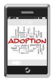 Adoption Word Cloud Concept on Touchscreen Phone. Adoption Word Cloud Concept of Touchscreen Phone with great terms such as foster, baby, mother and more Stock Images