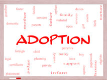 Adoption Word Cloud Concept on a Whiteboard Stock Images