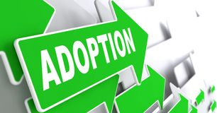 Adoption Word on Green Arrow. Royalty Free Stock Image