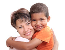 Adoptive child. Little African boy  in adoptive mothers arms Stock Photo