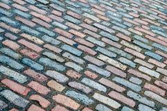 Adoquines diagonales de la calle Fotografía de archivo