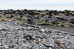 adoquines en la playa de Reynisfjara en el pueblo de Vik Imagenes de archivo