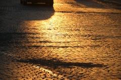 Adoquines en la puesta del sol Imágenes de archivo libres de regalías