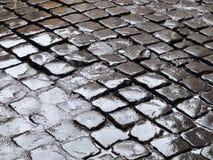 Adoquines mojados Fotografía de archivo