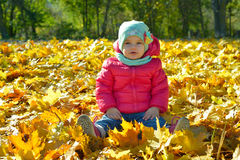 Adorabl little baby girl relaxing in the park Royalty Free Stock Images