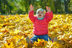 Adorabl little baby girl relaxing in the park Stock Photo