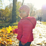 Adorabl little baby girl walking in the park in red jacket Stock Images