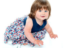 Adorable 10 months old baby girl crawling Stock Image
