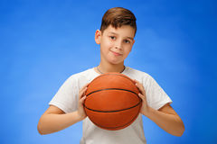 Adorable 11 Year Old Boy Child With Basketball Ball Royalty Free Stock Images