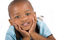 Adorable 3 year old black or African American boy Stock Photos