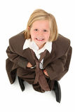 Adorable 7 Year Old Girl in Suit Stock Photo