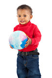 Adorable African American Boy Playing Bounce Ball Stock Image