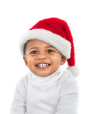 Adorable African American Boy Wearing Christmas Santa Hat Laughi Royalty Free Stock Image