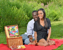 Adorable African American couple on picnic. Cute African-American couple having a picnic in a park - women in black dress men in button up shirt - on red blanket Royalty Free Stock Images