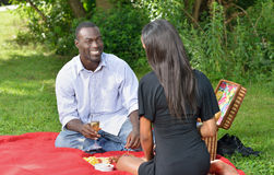 Adorable African American couple on picnic. Cute African-American couple having a picnic in a park.  women in black dress men in button up shirt - on red blanket Royalty Free Stock Photography