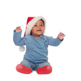 Adorable african baby with Christmas hat Royalty Free Stock Photos