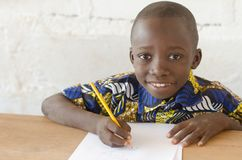 Adorable African Boy at School Looking at Camera with Copy Space Stock Photos