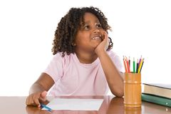 Adorable african girl thinking Stock Photo