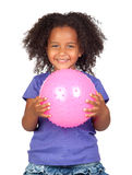 Adorable african little girl with pink ball. Isolated over white royalty free stock images
