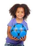 Adorable african little girl with soccer ball Royalty Free Stock Photos