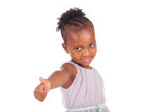 Adorable african little girl. On white background Stock Photos