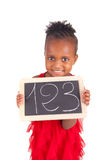 Adorable african little girl with slate Royalty Free Stock Photography