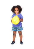 Adorable african little girl with yellow balloon Royalty Free Stock Image