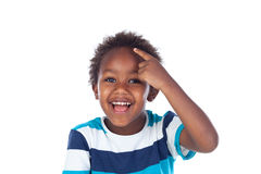 Adorable afroamerican child thinking Stock Images
